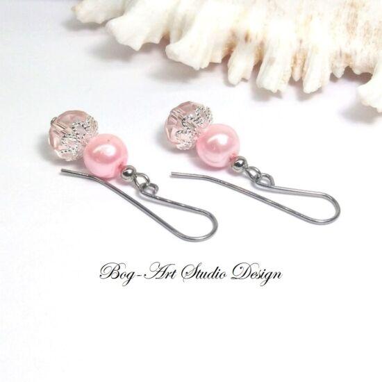 Gyöngy fülbevaló - gyöngy kristállyal rózsaszínben