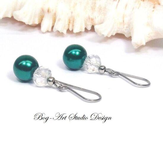 Gyöngy fülbevaló - gyöngy kristállyal smaragd és kirtály színben