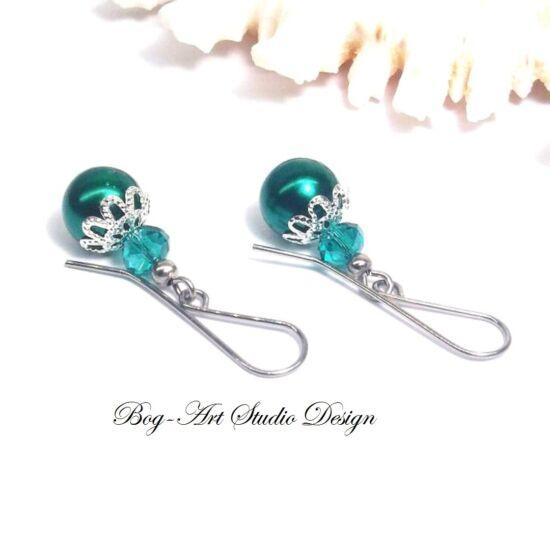 Gyöngy fülbevaló - gyöngy kristállyal Smaragd színben