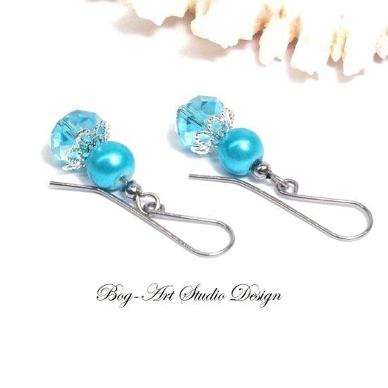 Gyöngy fülbevaló - gyöngy kristállyal Türkiz színben