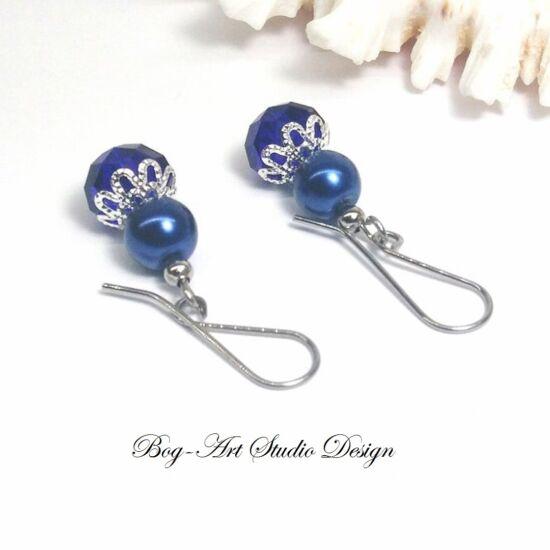 Gyöngy fülbevaló - gyöngy kristállyal kék színben
