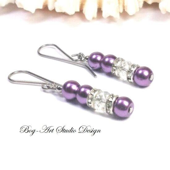 Gyöngy fülbevaló - 4 db 6-os lila gyöngy és kristály gyöngy
