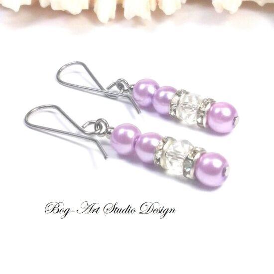 Gyöngy fülbevaló - 4 db 6-os világos lila gyöngy és krisstály gyöngy