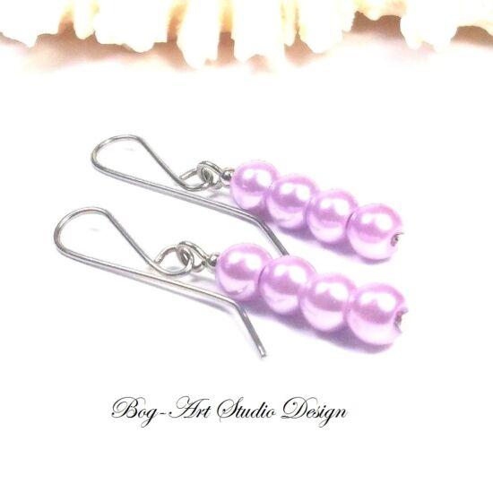 Gyöngy fülbevaló - 4 db 6-os világos lila gyöngy