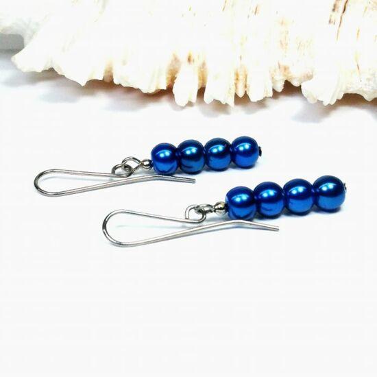 Gyöngy fülbevaló - 4x6mm kék gyöngy