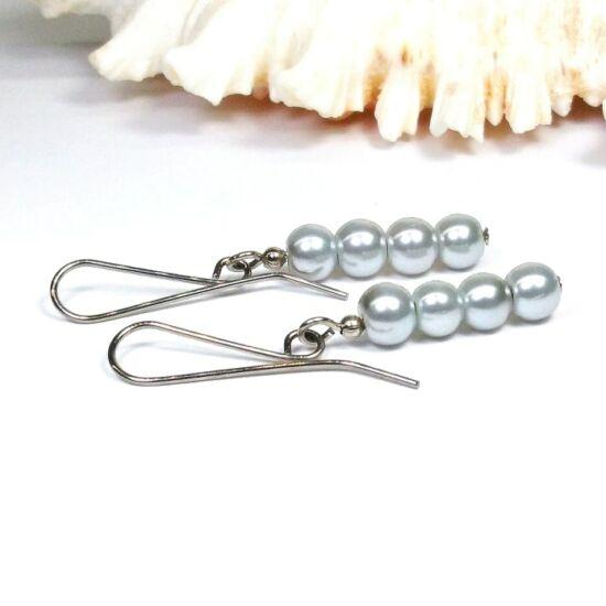 Gyöngy fülbevaló - 4x6mm ezüst gyöngy