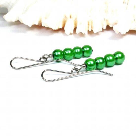 Gyöngy fülbevaló - 4x6mm zöld gyöngy