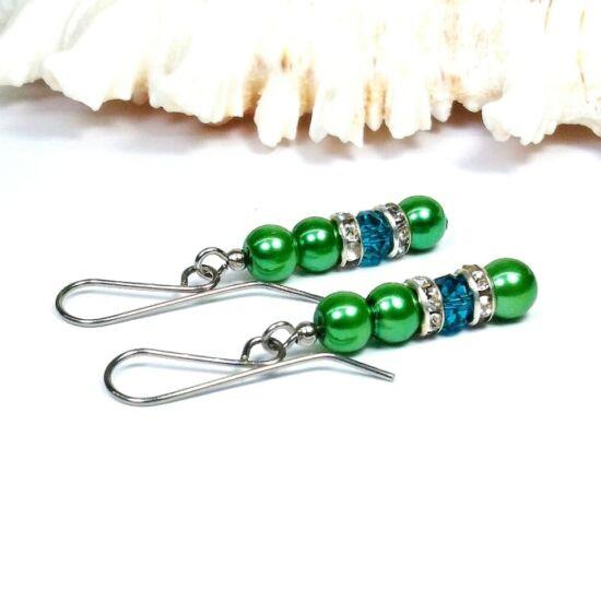 Gyöngy fülbevaló - 4x6mm zöld - méregzöld kristállyal