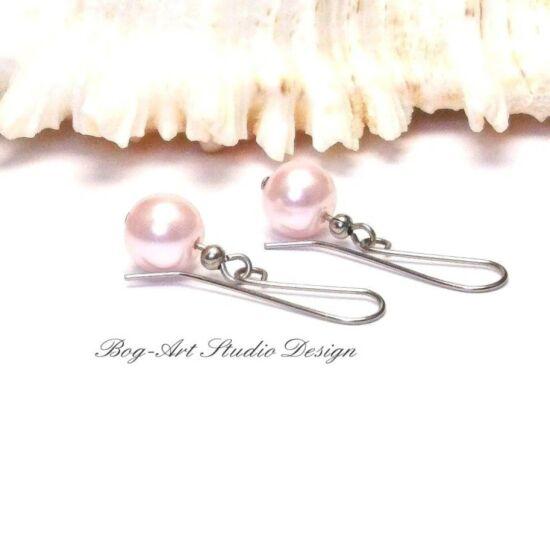 Gyöngy fülbevaló - 10-es halvány rózsaszín gyöngy