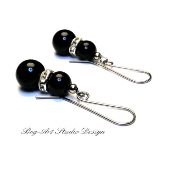 Gyöngy fülbevaló - fekete gyöngyök kristályokkal