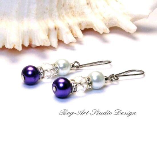 Gyöngy fülbevaló -  lila gyöngyökből kristály és kristály köztesekkel