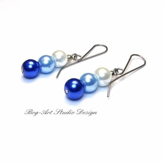 Üveggyöngy fülbevaló - 8 mm-es kék árnyalatú gyöngyök