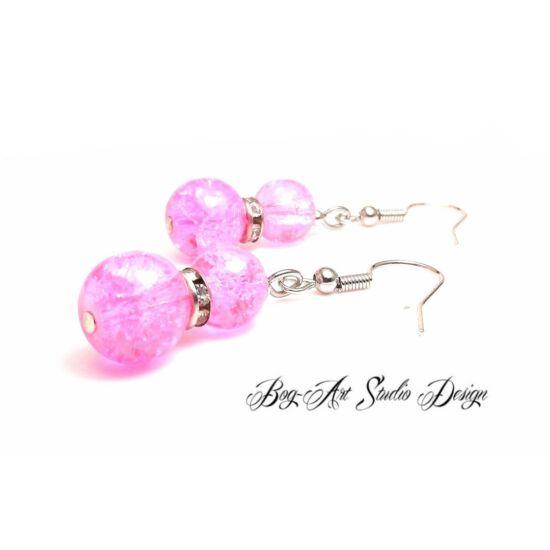 Gyöngy fülbevaló - rózsaszín roppantott gyöngyök kristályokkal