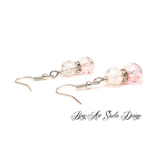 Gyöngy fülbevaló - Rózsaszín roppantott gyöngy kristályokkal