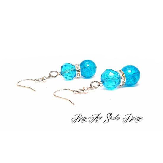Gyöngy fülbevaló - Kék roppantott gyöngy kék kristállyal