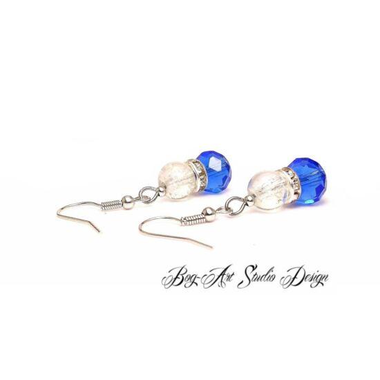 Gyöngy fülbevaló - Roppantott kirstály gyöngy kék kristálygyönggyel
