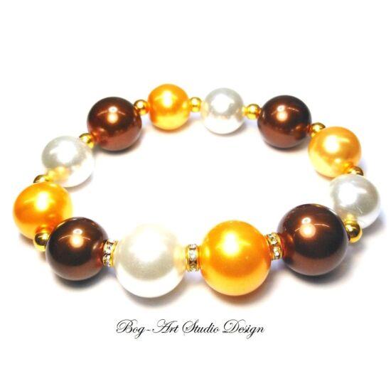 Gyöngy karkötő - 12-10 gyöngyből arany árnyalataival kristály köztessel