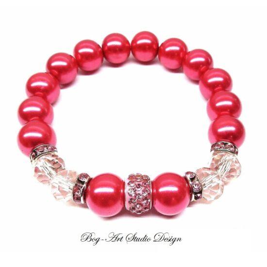Gyöngy Karkötő - Rózsaszín gyöngyök rózsaszín kristálykkal és köztessel