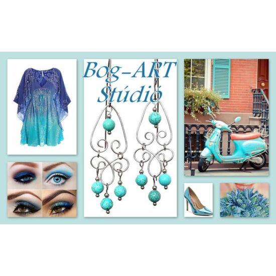 Gyöngy Karkötő - Csodaszép kék üveggyöngyök, kristályokkal és csillogó köztesekkel