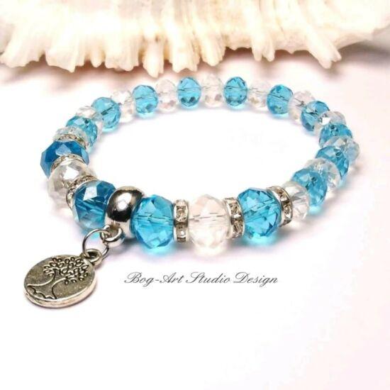 Gyöngy Karkötő - kék és áttetsző kristályokkal életfa medállal