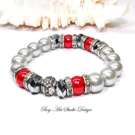 Gyöngy Karkötő ezüst gyöngyökből piros és apróköves köztesekkel