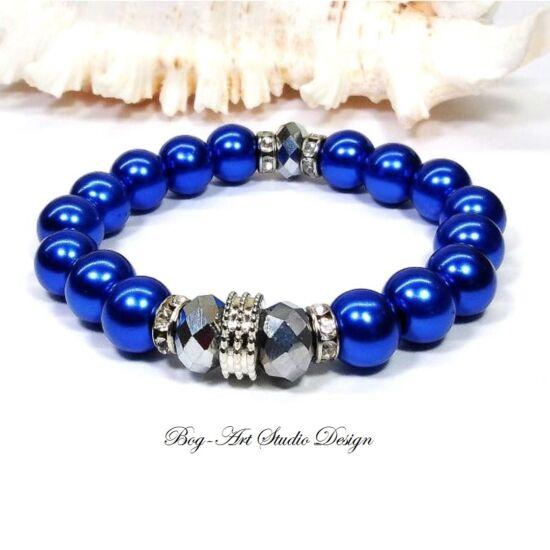 Gyöngy Karkötő kék gyöngyökből ezüst köztesekkel