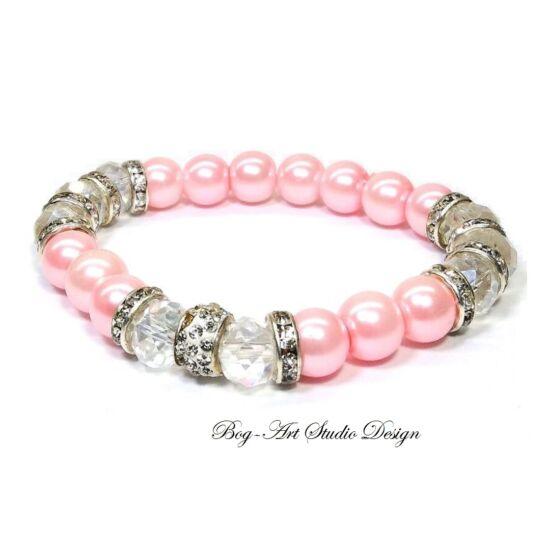 Gyöngy Karkötő rózsaszín gyöngyükből kristály köztesekkel