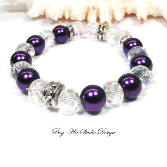 Gyöngy karkötő lila gyöngyökből áttetsző kristállyal