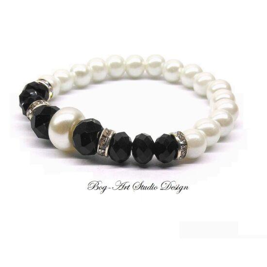 Gyöngy Karkötő fehér gyöngyökből fekete kristály köztesekkel