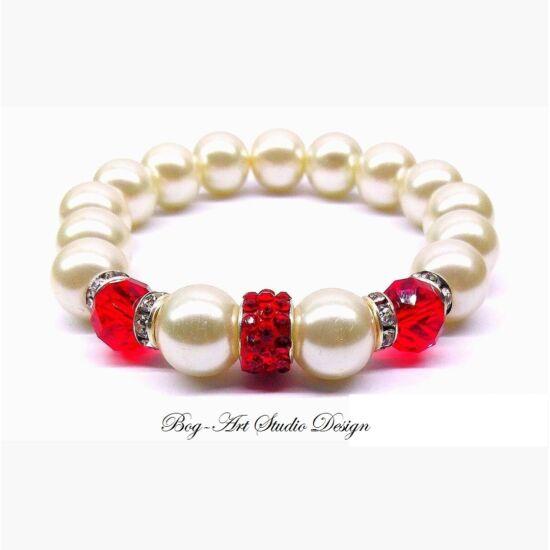 Gyöngy Karkötő fehér gyöngyökből piros köztesekkel