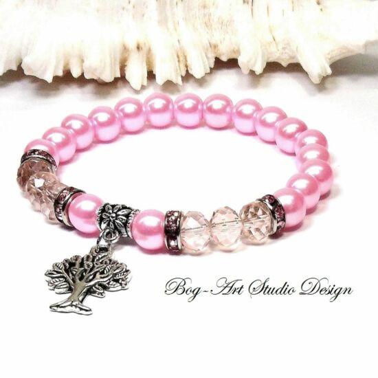 Gyöngy Karkötő rózsaszín gyöngyökből kristályokkal és életfával