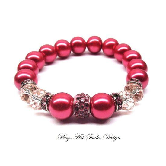 Gyöngy Karkötő rózsaszín gyöngyökből rózsaszín kristályokkal