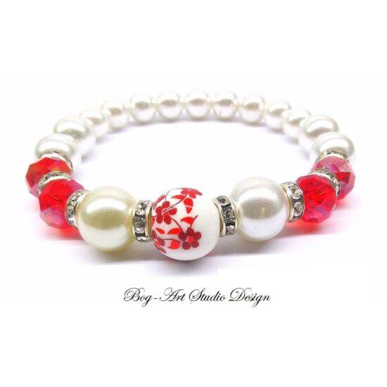 Gyöngy Karkötő - Fehér gyöngyök piros kritályokkal porcelén köztessel