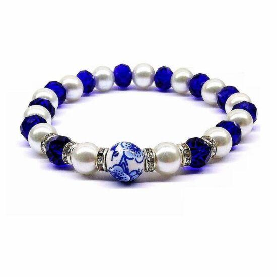 Gyöngy Karkötő - fehér üveggyöngyök kék kristályokkal porcelán köztessel