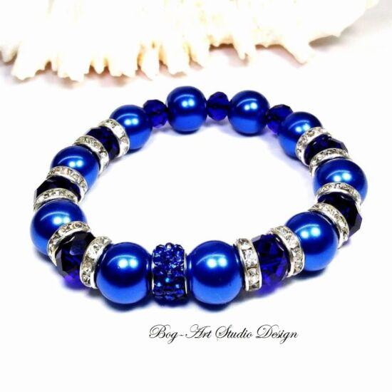 Gyöngy karkötő - kék gyöngyök kristályokkal