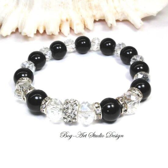 Gyöngy karkötő - fekete gyöngyök kristályokkal