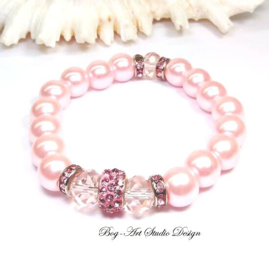 Gyöngy karkötő rózsaszín apróköves medállal