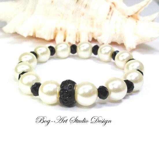 Gyöngy karkötő - Fehér és fekete kristályokkal