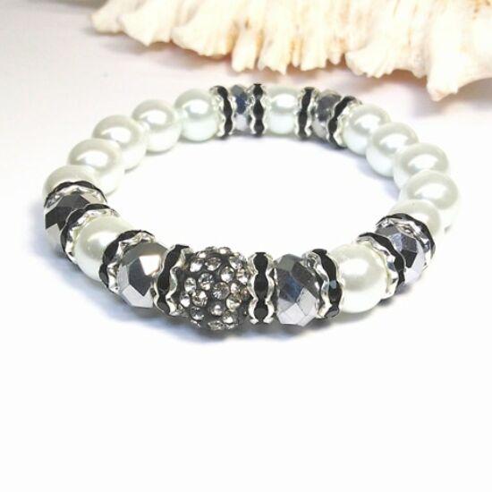 Gyöngy karkötő - fehér ezüsttel