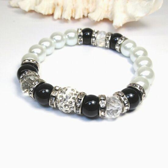 Gyöngy karkötő - fehér gyöngyök kristályokkal és feketével