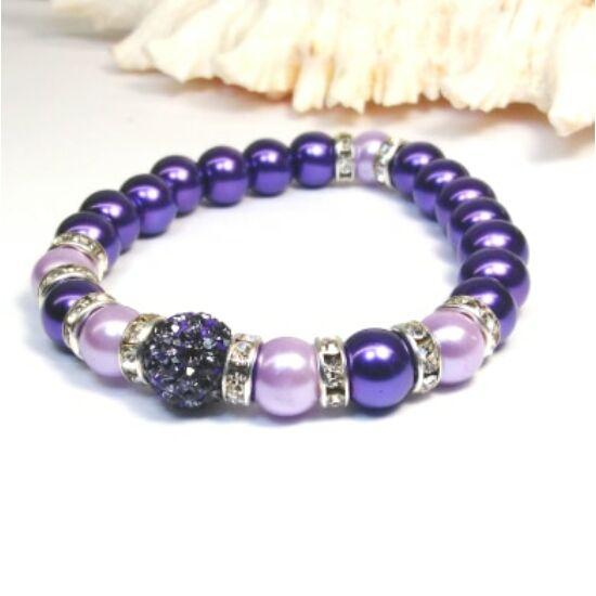 Gyöngy karkötő - lila árnyalatai kristályokkal