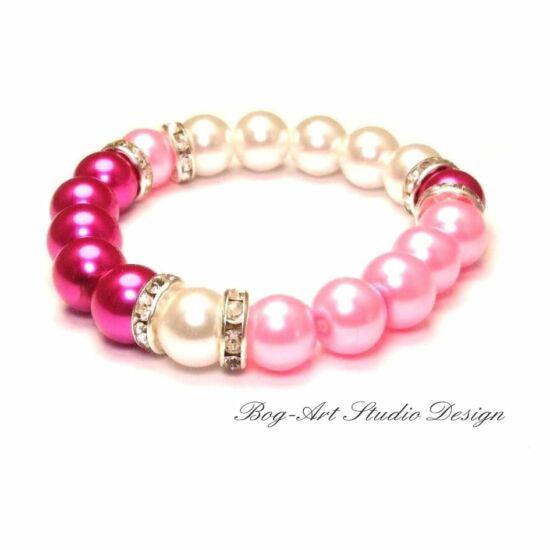 Bog-Art Studio - Szerelmes szív rózsaszín gyöngy karkötője - 10 mm