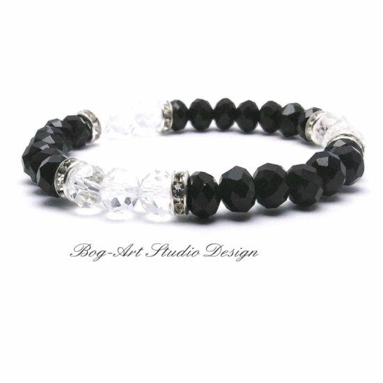 Kristály gyöngy karkötő - 8 mm-es feketék kristályokkal