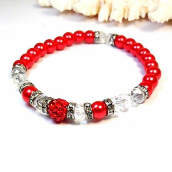 Gyöngy karkötő - 6 mm-es piros gyöngyök kristályokkal