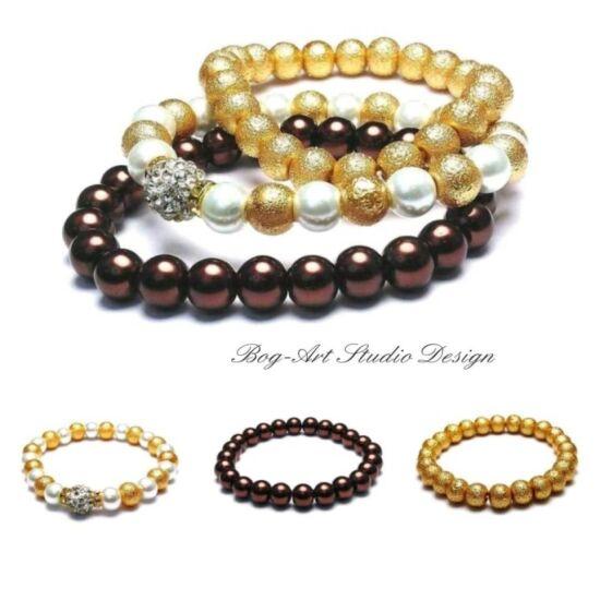 Megbízhatóság és elgancia - Gyöngy karkötők - Barna-arany-fehér kollekció