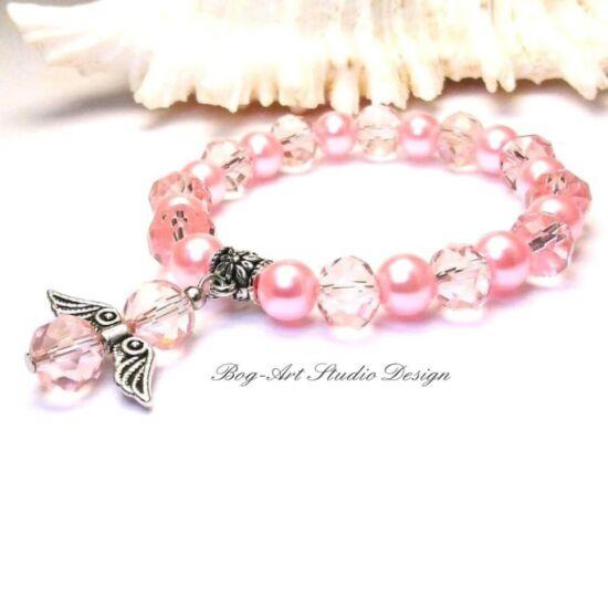 Gyöngy Karkötő - rózsaszín 8 mm-es gyöngyökből kristályokkal és angyalka medállal