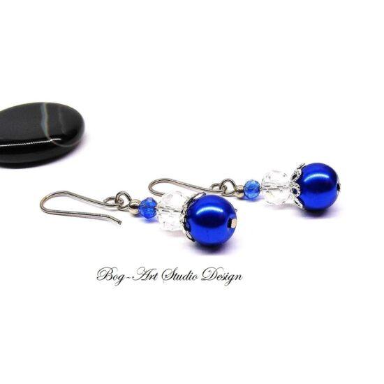 Kristály fülbevaló - Kék gyöngyök áttetsző kristállyal