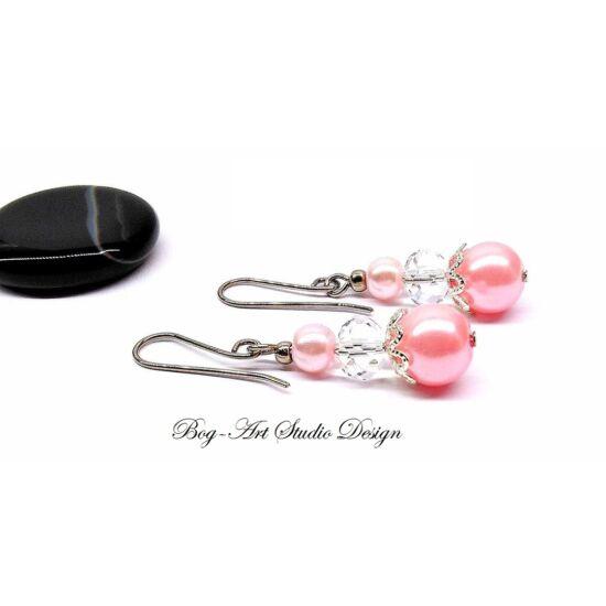 Kristály fülbevaló - Rózsaszín gyöngyök áttetsző kristállyal