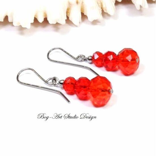 Bog-Art Studio - Kristály gyöngy fülbevaló - 3 szem piros gyöngy