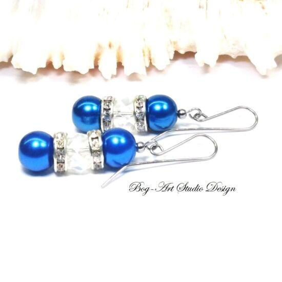 Gyöngy fülbevaló - Kék gyöngyökből kristály gyöngggyel
